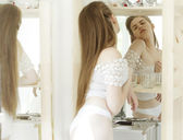 Exhilaration. Aspiration. Sexy Woman in Underwear in front of the Mirror — Stock Photo