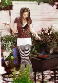 Joke. Eccentric Crazy and Funny Woman Hipster cooks Barbecue on Bbq Grill — Stock Photo
