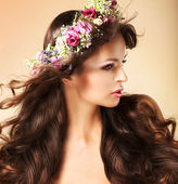 Portrait of Young Auburn Woman with Long Flowing Hairs and Wildflowers — Stock Photo