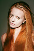 Bodyart. Face of Fanciful Red Hair Woman with Creative Stagy Art Make-up — Stock Photo