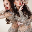 Постер, плакат: Radiance Glam Luxurious Rich Women In Grey Dresses with Rhinestones