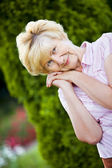 Dreaminess. Outdoor Portrait of Pensive Granny — Stock Photo
