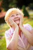 Elation. Ecstasy. Surprised Glad Grey-Haired Senior Woman Looking Up — Stock Photo