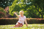 Enjoyment. Positive Emotions. Outgoing Old Woman Resting on Grass — 图库照片