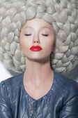 Fantasy. Creativity. Portrait of Trendy Woman in Futuristic Sumptuous Huge Wig with Braids — Stock Photo