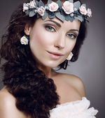Attractiveness. Perfection. Fascinating Cutie wearing Wreath Of Flowers — Zdjęcie stockowe