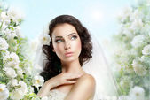Sentiment. Perfect Exquisite Woman with Flowers over Vernal Floral Background — Стоковое фото