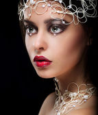 Decoration. Portrait of Gorgeous Woman with Pearls and Beads — Stock Photo