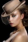 Charm. Retro Styled Romantic Woman in Vintage Brown Hat and Veil. Nostalgia — Stock Photo