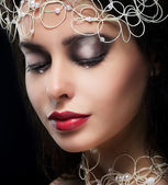 Stylish Fashionable Young Woman with Pearls in Reverie — Stock Photo