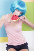 Beautiful Dreamy Woman in Blue Wig Holding Slice of Watermelon — Stock Photo