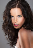 Magnetism. Character. Image of Exquisite Refined Woman with Brown Hair — Stock Photo