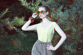 Charisma. Individuality. Luxurious Woman in Fancy Sunglasses Outside — Stock Photo