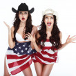 Two Funny Happy Women in Hats Wrapped in USA Flag — Stock Photo #45458067
