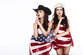 Fanciful Joyful Women Cowgirls and American Flag — Stock Photo