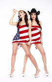 Funny Women in Hats and Heels Covering in USA Flag — Stock Photo