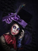 Expression. Pantomime. Clown in Fancy Carnival Hat with Artistic Makeup — Stock Photo