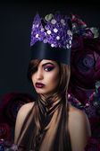 Fantasy. Fanciful Woman in Unusual Art Stylized Crown — Stock Photo