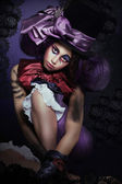 Circus. Jester with Fanciful Makeover in Foolish Hat — Stok fotoğraf