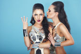 Emotions. Fanciful Showy Females Gesturing and Grimacing — Stock Photo