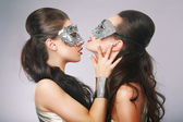 Performance. Fancy Women in Surrealistic Stylized Silver Masks — Stock Photo
