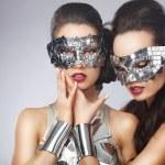 Masquerade. Artistic Women in Fancy Bright Glasses — Stock Photo #47462549