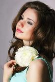 Femininity. Sincere Brunette with White Peony — Stock Photo
