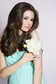 Modesty. Humble Young Woman with Peony Flower — Stock Photo