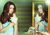 Mantra. Incantation. Woman Wizard Reflecting in Mirror — Stock Photo
