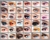 Mascara. Great Variety of Women's Eyes. Set of Eyeshadow — Stock Photo