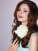 Freshness. Happy Woman with Peony Flower Smiling — Stock Photo