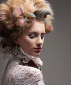 Inspiration. Fashion Model with Colorful Dyed Hair — Стоковое фото