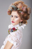 Glamorous Woman with Stylized Fanciful Coiffure — Stok fotoğraf