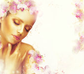 Relaxation. Dreamy Genuine Exquisite Woman with Flowers. Romantic Floral Background — Stock Photo