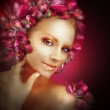 Radiance. Beautiful Golden Girl With Purple Tulips Flowers — Stock Photo #49892969