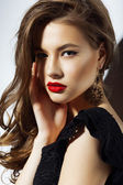 Charisma. Gorgeous Aristocratic Woman with Red Lips — Stock Photo