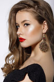 Profile of Respectable Classy Brunette with Earrings — Zdjęcie stockowe