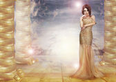 Fantasy. Glam. Enticing Lady in Stylish Dress over Abstract Background — Stock Photo
