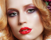 Portrait of Snazzy Enchanting Woman with Bright Make-up — Stock Photo