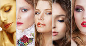 Collage. Set of Women's Faces with Various Colorful Makeup — Stok fotoğraf