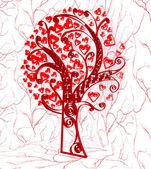 Tree in hearts — Stock Photo