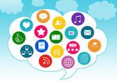 Social Media in the cloud — Stock Photo