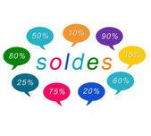 Kolorowe tagi soldes — Zdjęcie stockowe