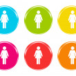 Colorful icons with a woman symbol — Stock Photo