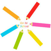 Pencils with the text Go to School — Foto de Stock