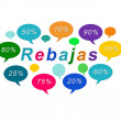 Sales colorful tags (Rebajas in spanish) — Stock Photo