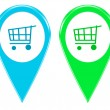 Shopping icons for markers on maps — Stock Photo