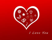 Kartpostal ile kırmızı renkli kalpler — Stok fotoğraf