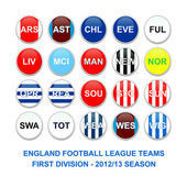 English first division football league teams buttons — Stock Photo