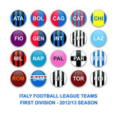 Italy first division football league teams buttons — Stock Photo
